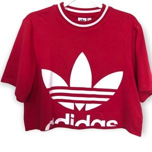Adidas Red & White Logo Cropped Short Sleeve Top